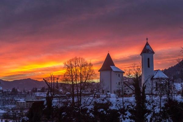 Winter sunset in Kranj