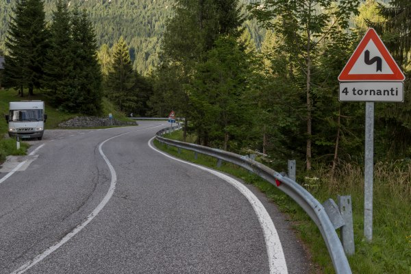 Winding roads in the Dolomites