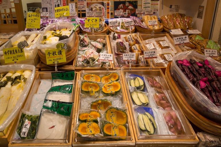 Vegetables at Nishiki market in Kyoto