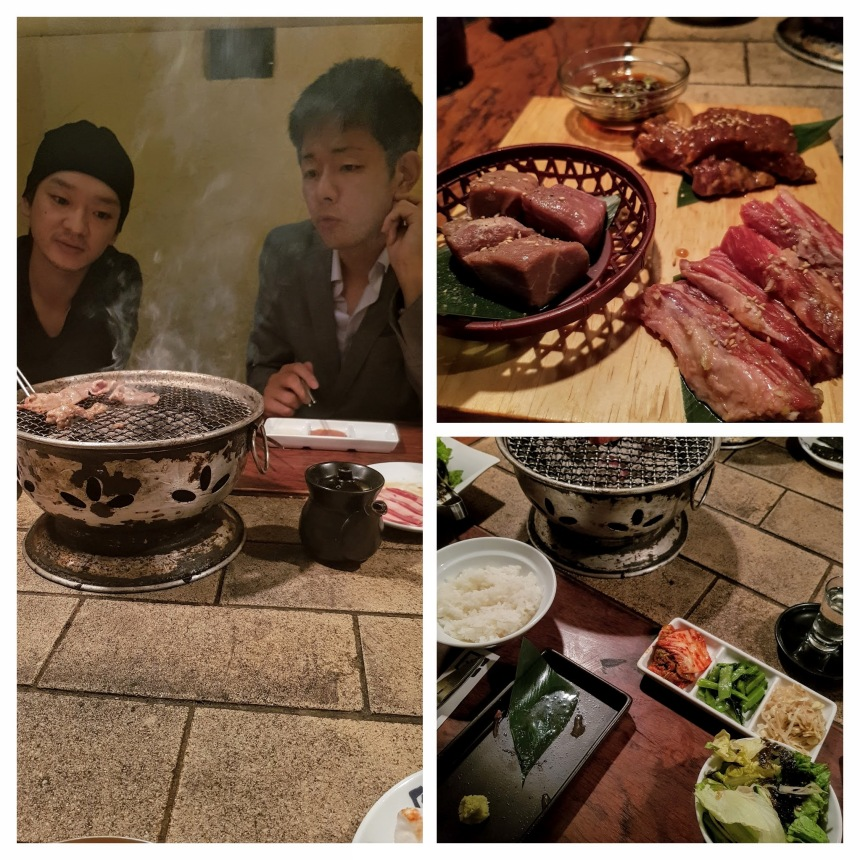 Grilled meat at a yakiniku restaurant