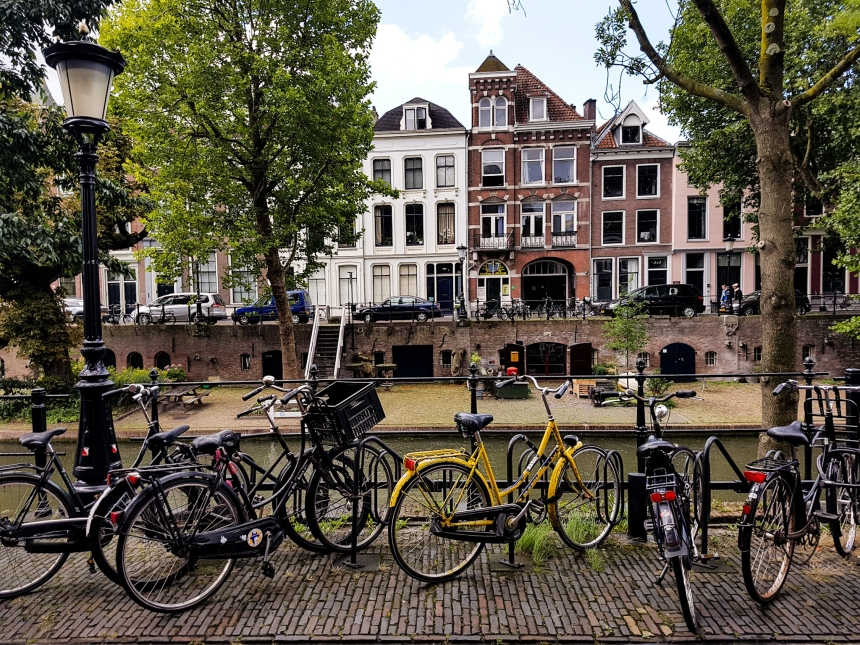 Bicycles along the canal in Utrecht